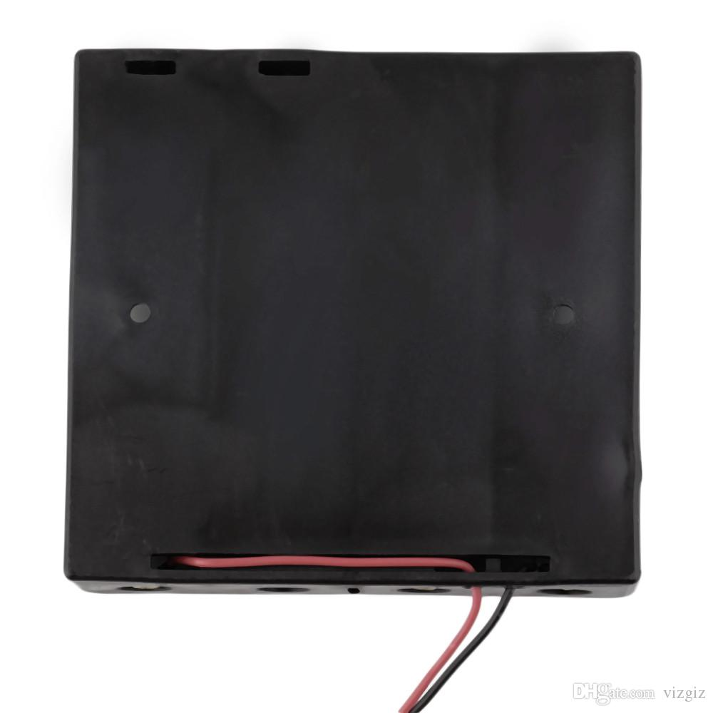 """Battery Storage Case Plastic 4 x 18650 Box Holder Black With 6\"""" Wire Leads Wholesale"""