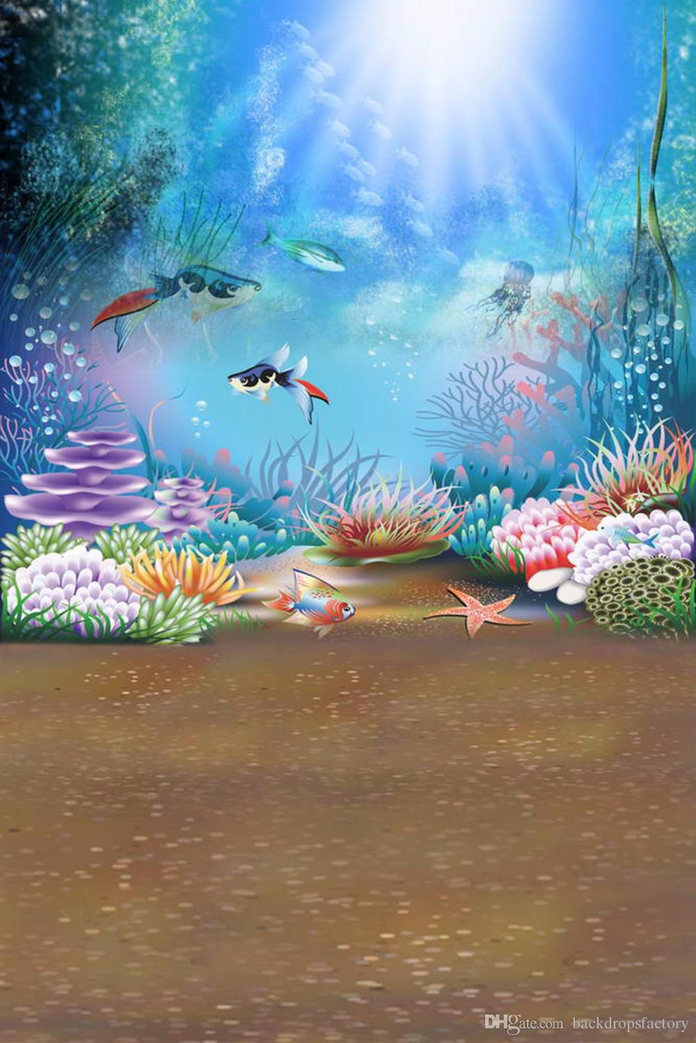 2019 Sunshine Through Blue Ocean Under The Sea Photography Background Fishes Kids Children Cartoon Photo Booth Backdrop From Backdropsfactory, ...