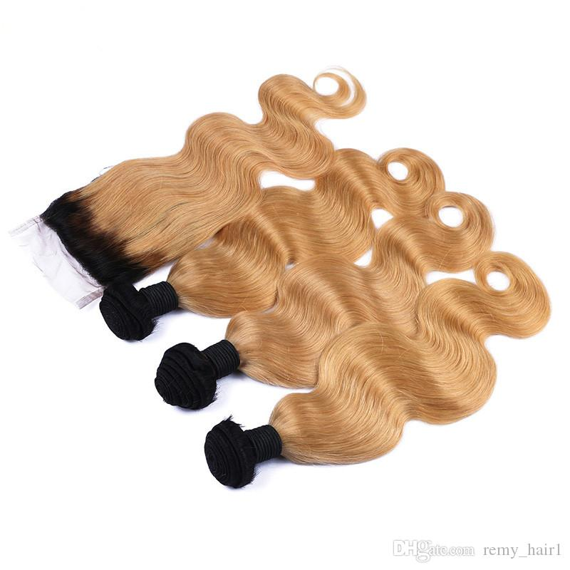 #1B/27 Honey Blonde Brazilian Human Hair 3Bundles With Closure Dark Roots Light Brown Body Wave 4x4 Lace Closure With Human Hair Wefts