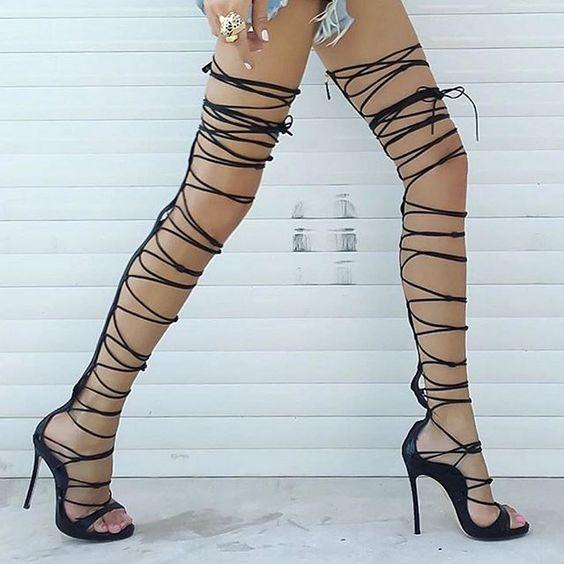 c6f519fe631 Summer Sexy Gladiator Strappy Thigh High Booties Lace Up Open Toe High Heel Sandals  Shoes Women Celebrity Sandals Shoes Flat Shoes Wedge Shoes From G noble