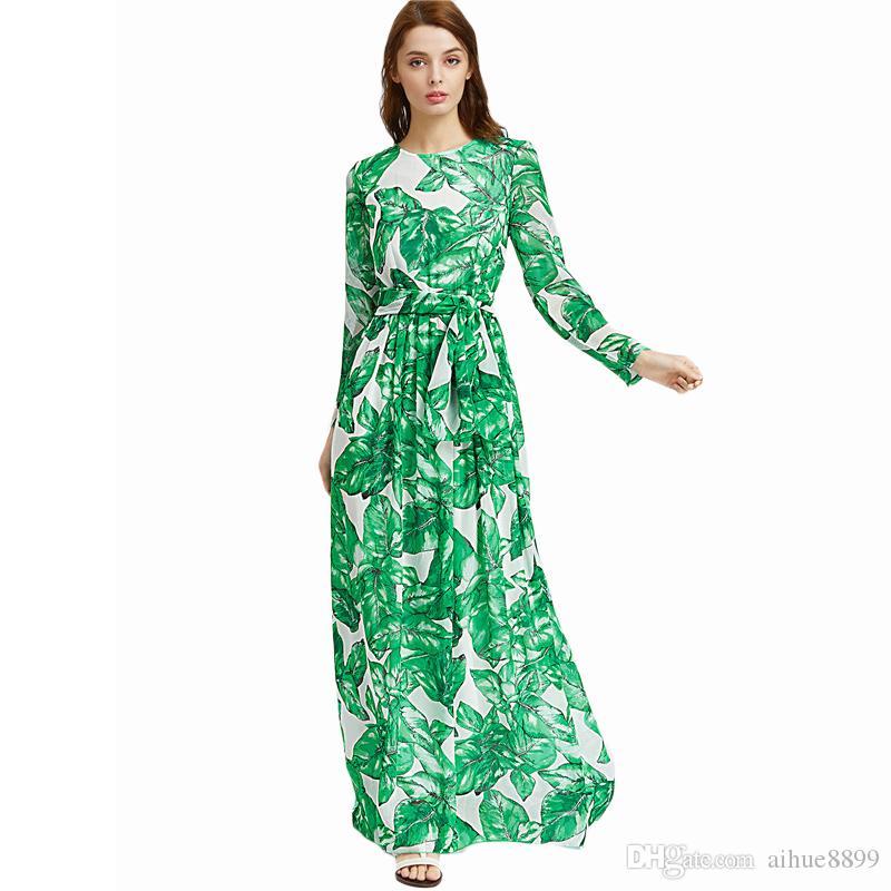 c09587c5cb 2017 Spring Summer New High Quality Women's Long Sleeve Green Flower  Printing Chiffon Maxi Dress Ladies Runway Dresses Vestido