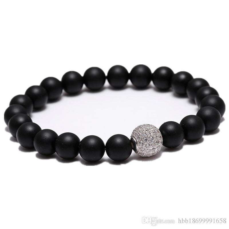 Hommes du Yoga bouddhiste tibétain Bouddha bracelet Bouddha Beads Beads Strand Pave CZ Bracelets Matte Noir Cadeau Stone Saint Vendeur vacances Ville Noël