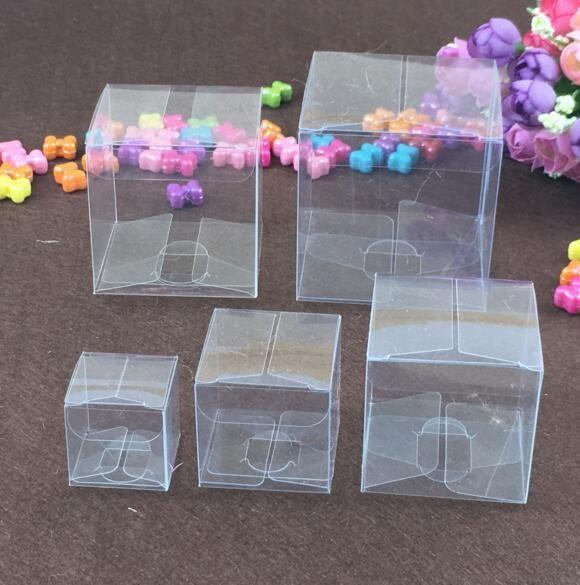 السفينة حرة 50 قطع مربع البلاستيك واضح pvc صناديق شفافة للماء هدية مربع pvc كاري حالات التغليف مربع للمجوهرات / الحلوى / اللعب / كعكة