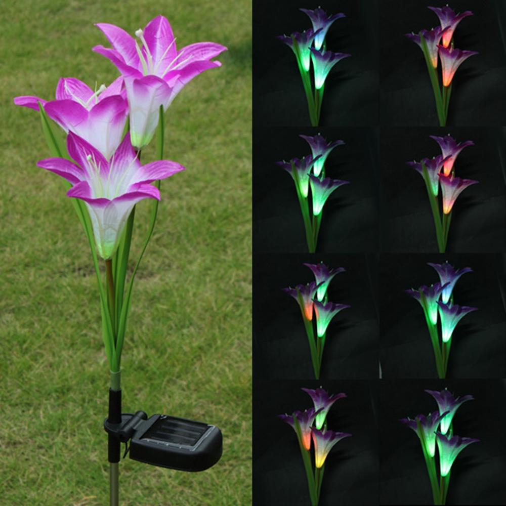 Online cheap wholesale purple led solar power lily flower garden online cheap wholesale purple led solar power lily flower garden stake light color changing outdoor garden path yard decoration 3 led flower party lamp by izmirmasajfo