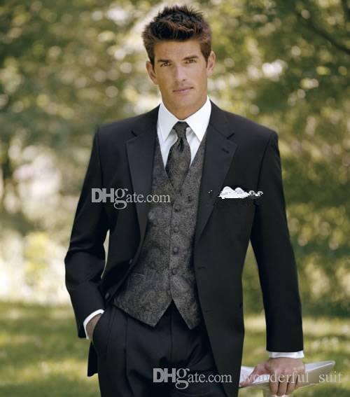 Custom Made İki Düğmeler Siyah Damat Smokin Notch Yaka Best Man Suit Sağdıç Erkekler Düğün Takımları Ceket + Pantolon + Kravat + Yelek
