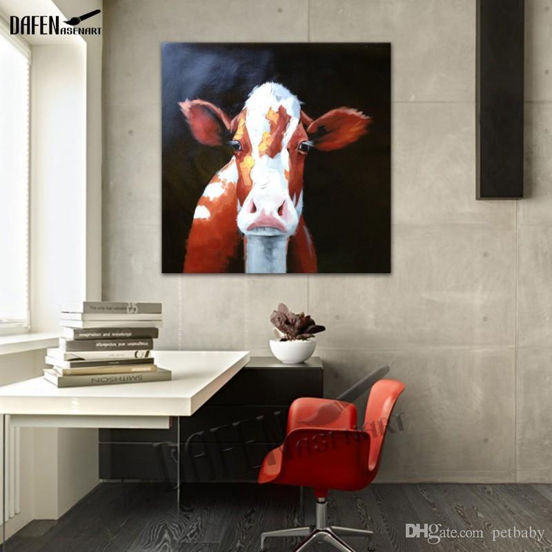 100% handgemaltes ölgemälde auf leinwand Stier Kuh malerei leinwand kunstwerk home decoe wandkunst bild für wohnzimmer wandbild kunst