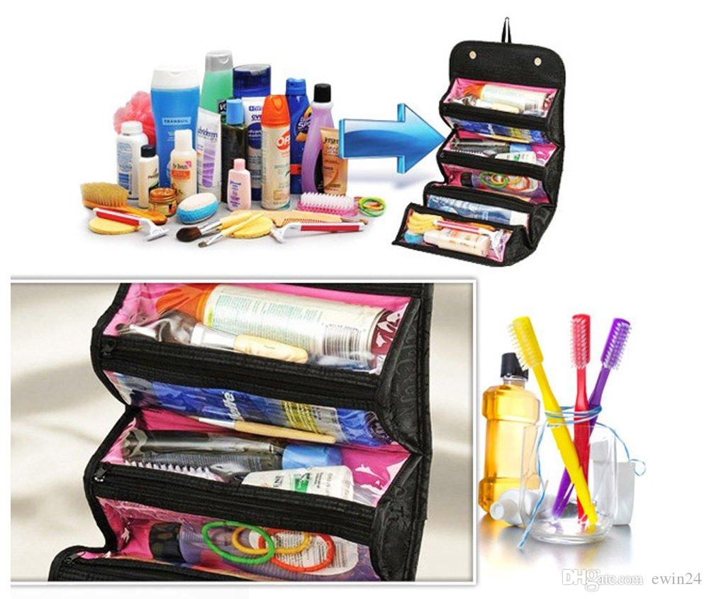 Roll Makeup Cosmetic Foldable Bag Travel Buddy Pouch 4 Zippered Compartment Toiletries Organizer wholesale