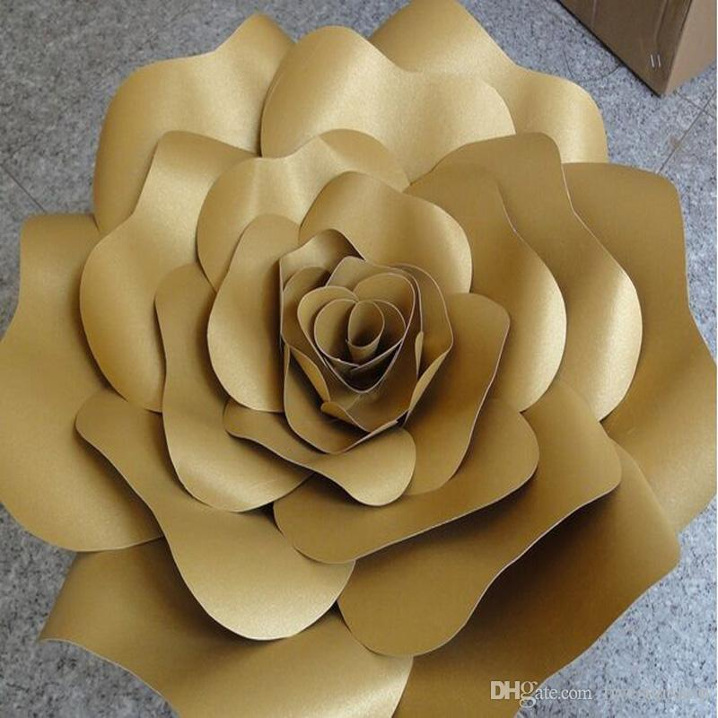 Customized Personalized Set Handmade Giant Cardboard paper Unique flower Rose For Wedding Backdrops Decoration Decor photobooth
