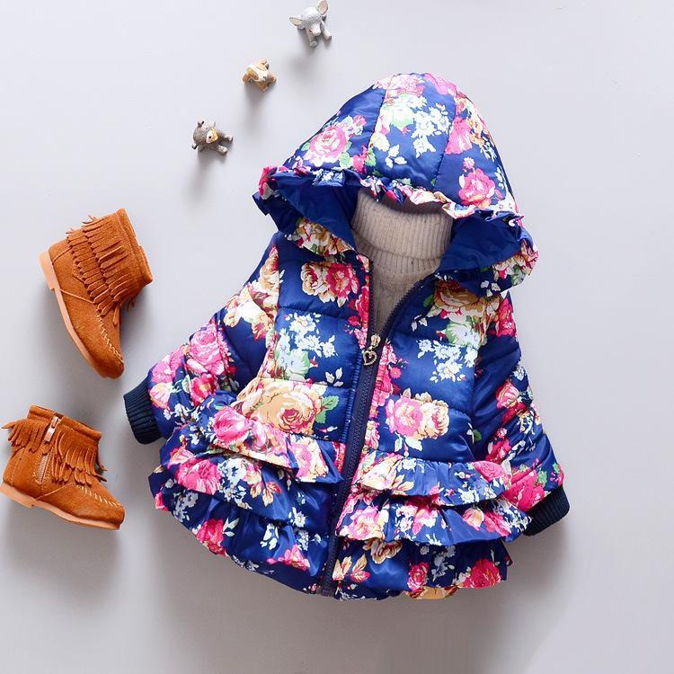 Weihnachten Floral Hoodies Mantel Outwear Baby Winter Kinder Mädchen Mode Jacke Wärme SMVUGqzp