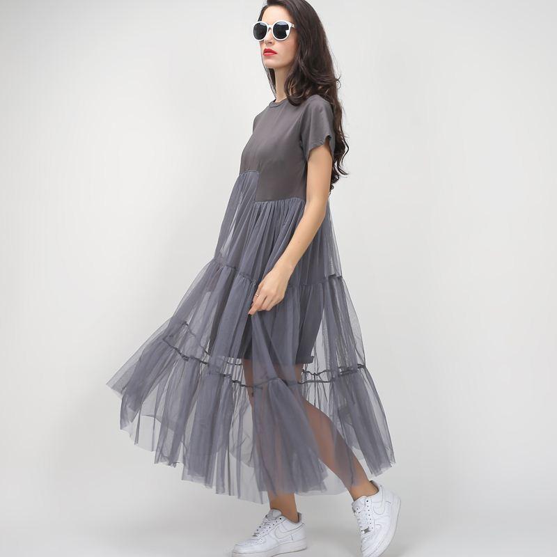 79f1c8ec253 TWOTWINSTYLE Summer Korean Plus Size Splicing Pleated Mesh T Shirt Dress  Women Black Gray Color Clothing New Fashion Green Junior Dresses Black  Dresses Sale ...