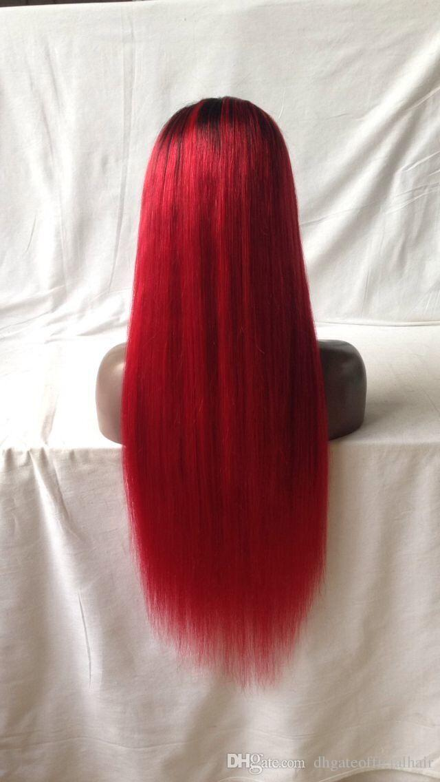 Red Color human Hair Premium Glueless Full Lace Wigs with 8-24 inch Brazilian Human Hair Lace Front Wigs Long Straight Human Wigs