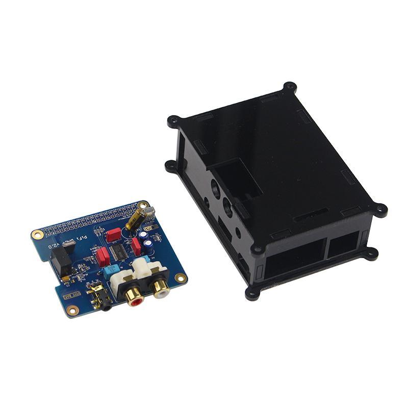 Freeshipping Raspberry pi 3 Audio Sound Card Module I2S interface HIFI DAC  expansion board Black Acrylic case for Raspberry pi 2 /3 model B