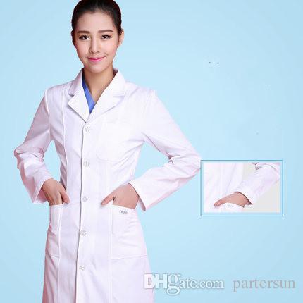 Médecin de pharmacie uniforme d'été d'infirmière blanche à manches courtes prendre une combinaison à manches longues hôpital médecin esthéticienne