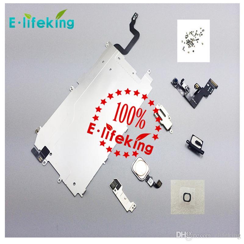 Para iphone 6 6 p lcd assembléia digitador conjunto completo pequena peça de reparo placa de metal escudo da frente da câmera orador speaker casa botão flex