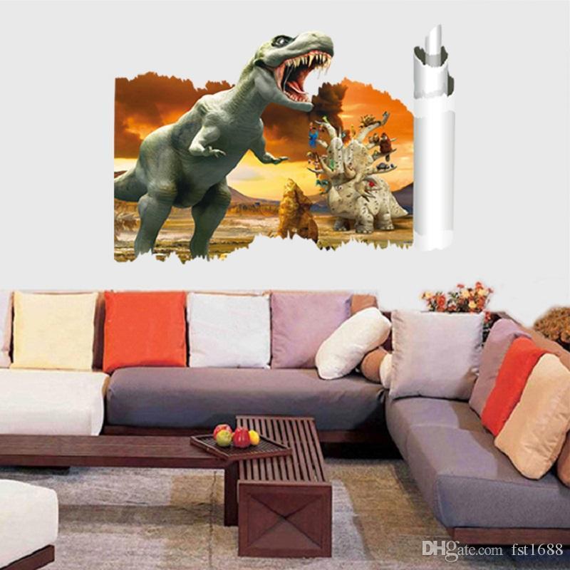 3039 Dinosaurs Wall Sticker 3D Dinosaurs Wall Decals Sunset PVC Animals Wall Art Mural Poster Home Decoration