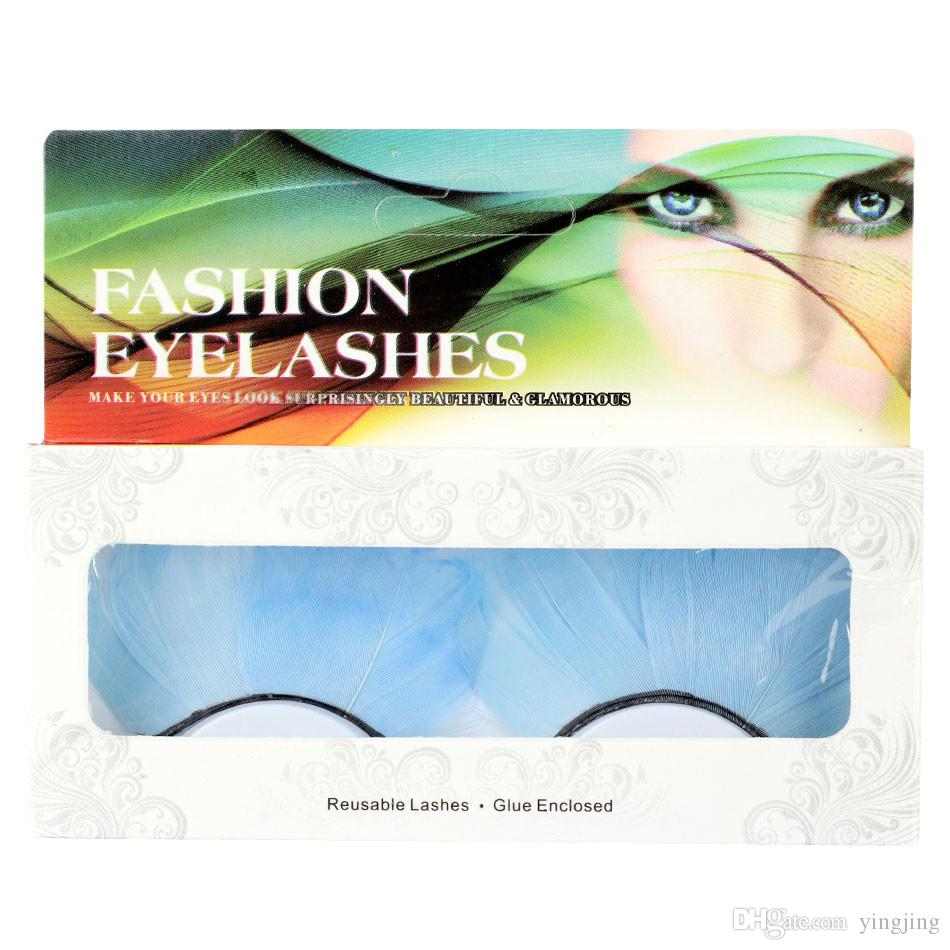 2017 New Blue Feathers False Eyelash Makeup art photography exaggerated personal eyelash party make-up or exaggerated Maquiagem exaggerated