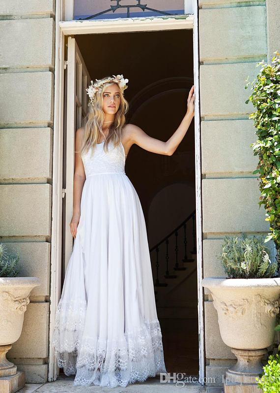 White,Ivory Beach Wedding Dresses Pleats Chiffon with Floral Lace Summer Bridal Gowns Country Wedding Gowns Spaghetti Wedding Dresses Cheap