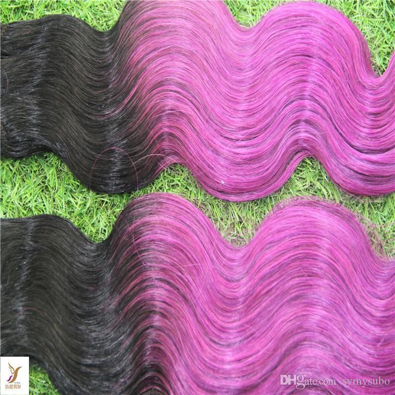 T1B / roxo Ombre Cor Virgem Peruano Onda Do Corpo Do Cabelo Weave 100% Peruano Remy Do Cabelo Humano Extração 6a Trama Do Cabelo Duplo Tecelagem