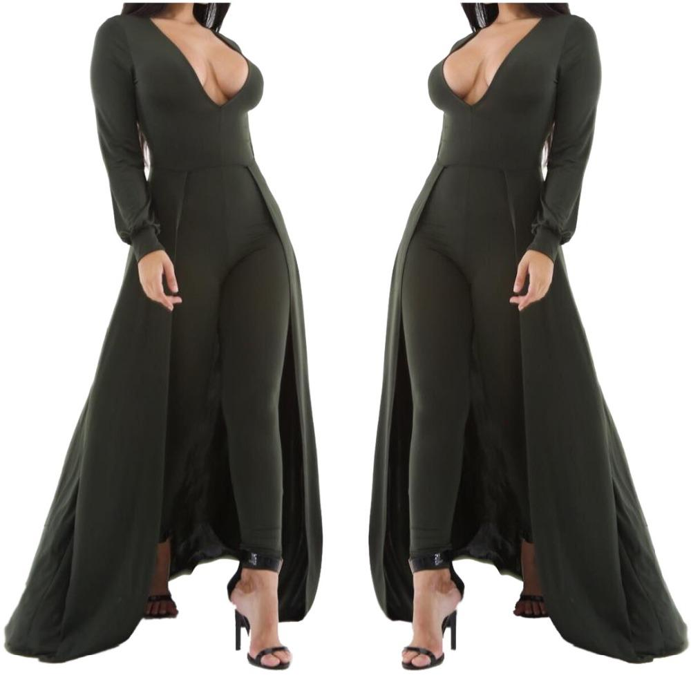 5d8f9406cd01 Wholesale- Adogirl Women Sexy V Neck Long Skinny Jumpsuit Autumn Winter  White Green With Cloak Full Sleeve Club Playsuits Plus Size Rompers Winter  Carter ...