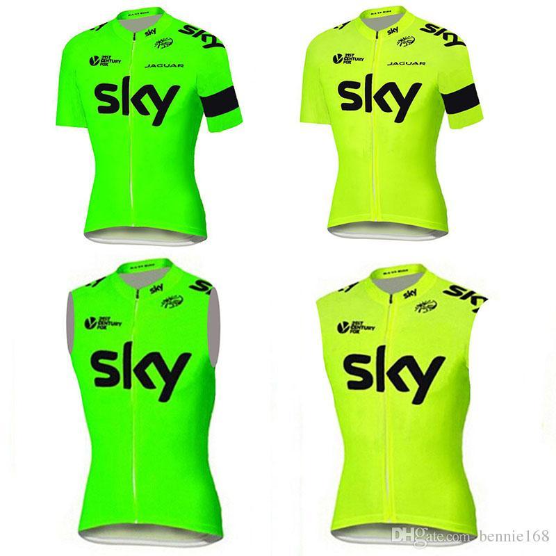sale retailer 9e521 3ffa9 Fluo Green Yellow Cycling Jerserys Top Short Sleeves Cycling Vest Summer  Style MTB Ropa Millot Bike Wear XS-4XL