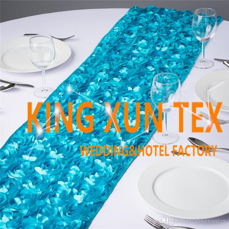 Hot Sale Satin Rosette Fabric Table Runner Fit On Table Cloth For Wedding And Event Decoration