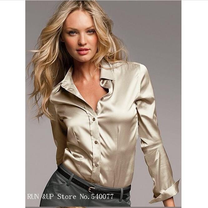 2ad216bb96 S-XXXL donna Moda camicetta in raso di seta pulsante donna camicette di  seta camicia casual lavoro bianco nero oro rosso manica lunga top in raso