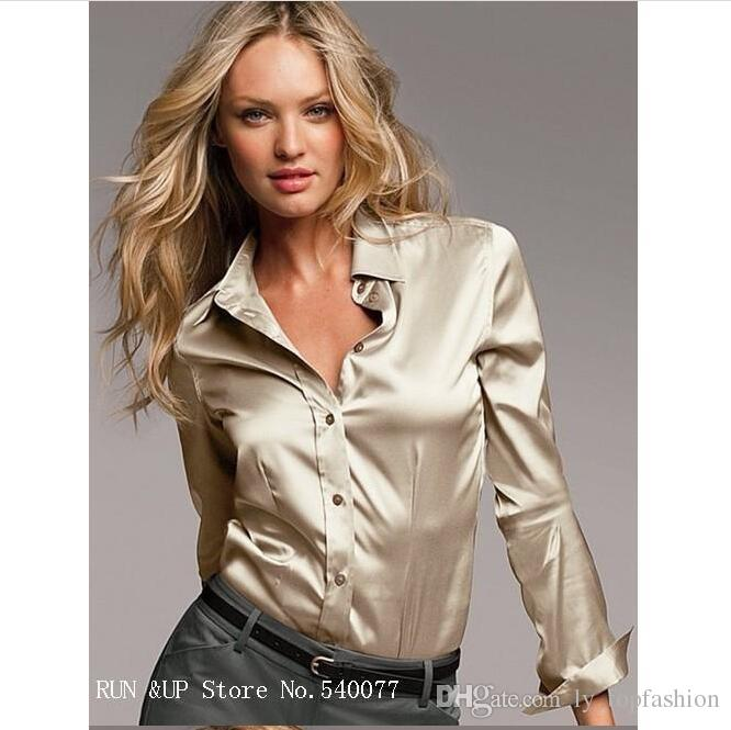 cdbefb0236fd3 S-XXXL Women Fashion Silk Satin Blouse Button Ladies Silk Blouses Shirt  Casual Work White Black Gold Red Long Sleeve Satin Top Fashion Silk Satin  Blouse ...