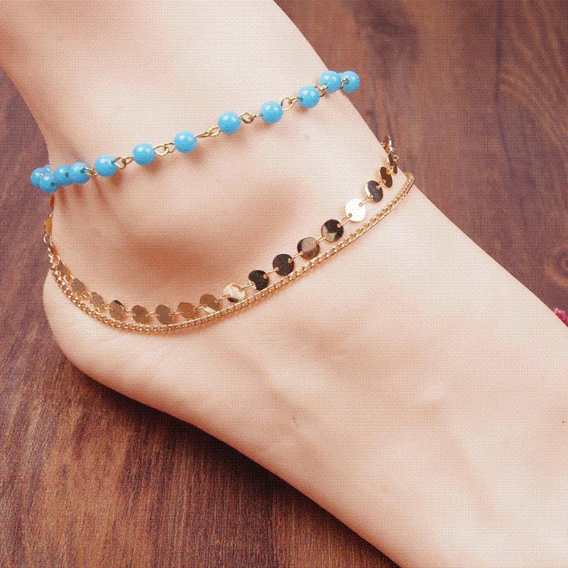yellow diamond cut beaded rubystella gold chain anklet yg