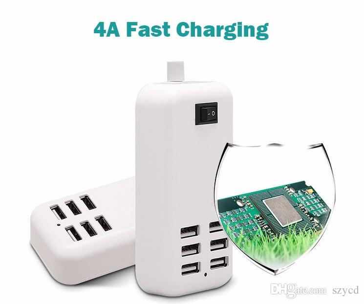 Desktop USB Charger HUB 6 Ports US EU UK Plug Wall Socket Dock Fast Charging Extension Power Adapter for Cell Phone Tablet with Retail Box
