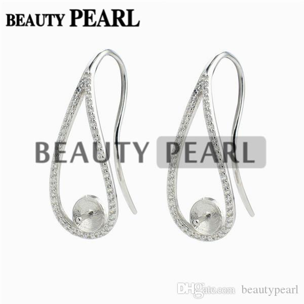 Ear Wire Cubic Zirconia Paved 925 Sterling Silver Earrings Blank Base Pearl Jewellery Findings 5 Pairs