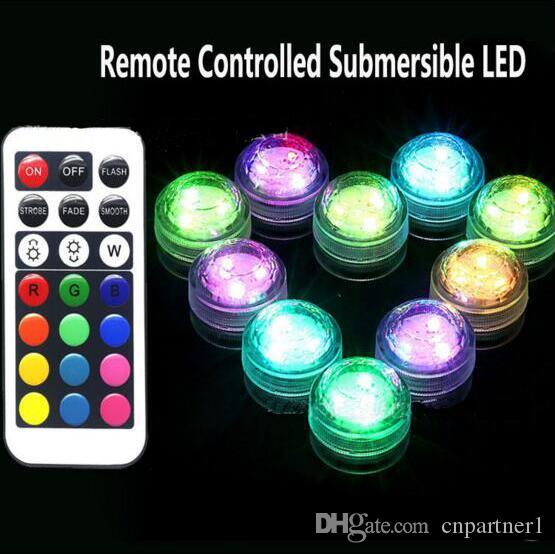 2017 RGB Mini led diamond lamp 3 led patch waterproof IP68 candle light remote control colorful diving light night light control
