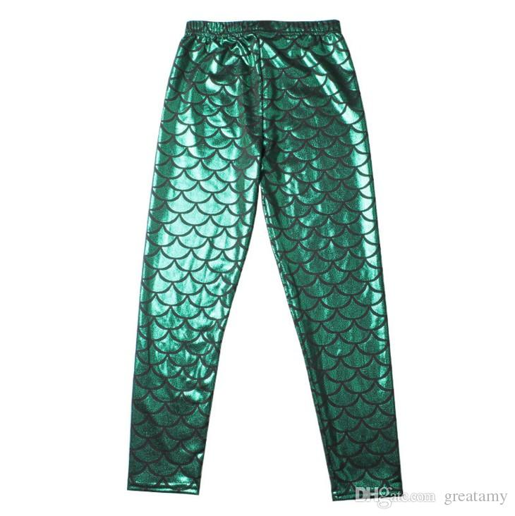 Girls Kids Mermaid Cute Pants baby Colorful Digital Printing Child Leggings Pants mermaid fish scale shiny pants