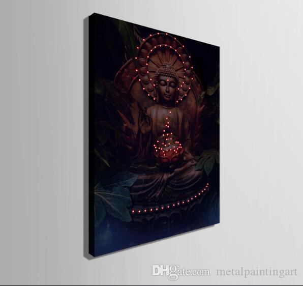 Будда благословит вас из светодиодов абстрактные стены искусства холст спрей картины загораются оформленные произведения искусства украшения спальня / гостиная