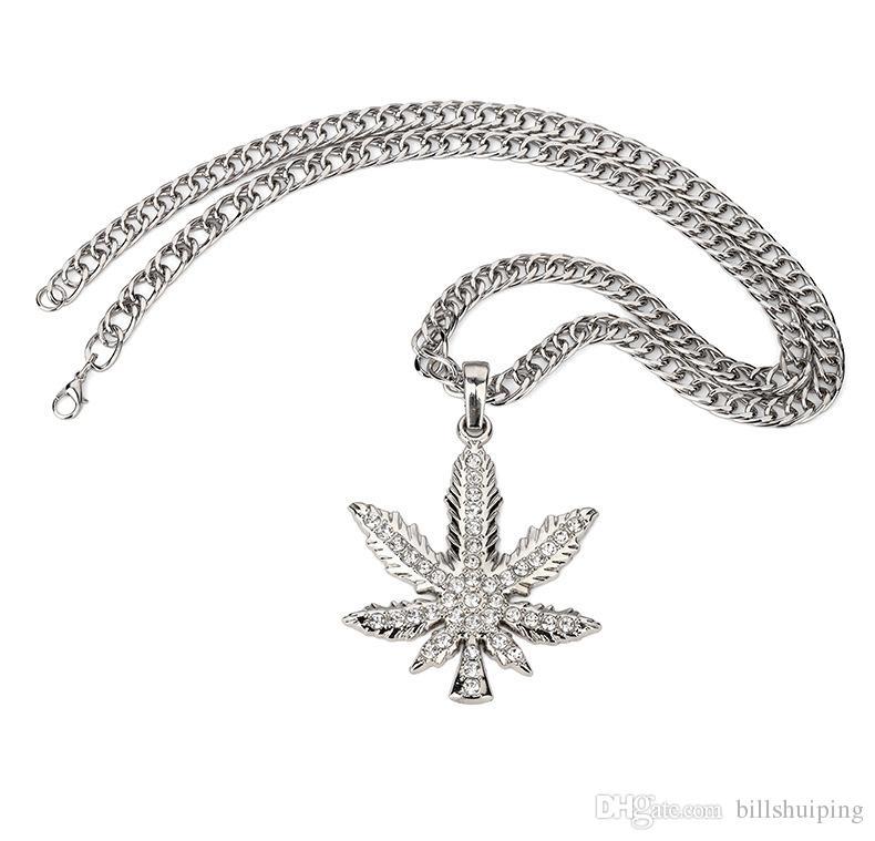 Оптовая полный листья кленовый лист длинные заявление ожерелье цепь мужчины женщины ювелирные изделия хип - хоп завод листья ожерелье