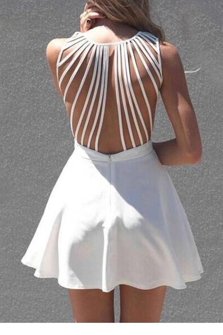 0746d0aef0ad1 Wholesale- Dower Me Pure V neck mini robe retour tassel femmes sexy push up  volants robes de white strappy back sleeveless skater dress