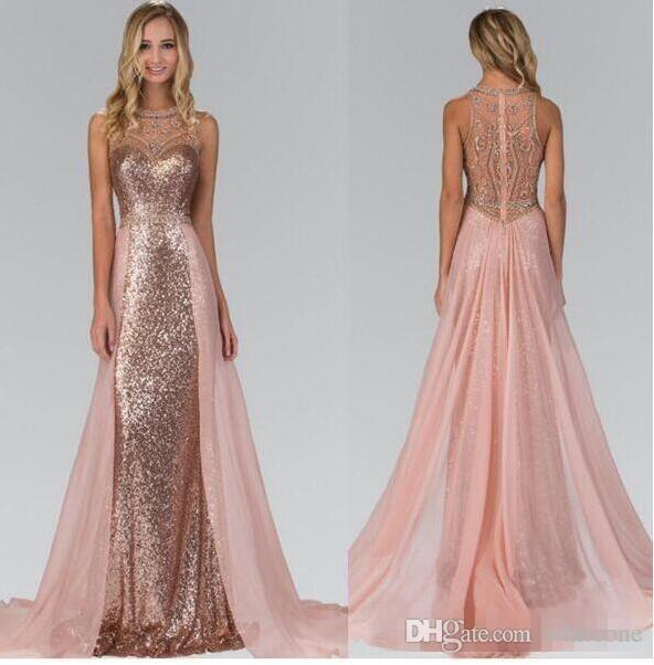 2017 Chic Rose Gold Sequined Bridesmaid Dresses With Overskirt Train Illusion Back Formal Maid Of Honor Wedding Guest Party Evening Gowns Country
