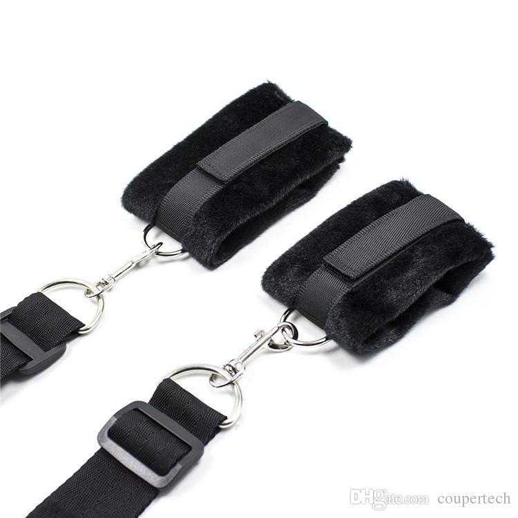 Sex Restraint bondage handcuffs and Blindfold,Solf velvet sex restraints system,bedroom Sex game accessory, Underbed restraints