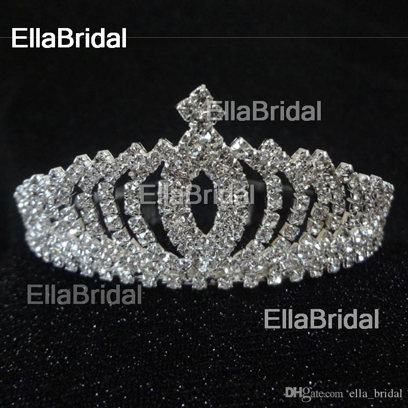 Real Photo Bridal Crystal Crown High Quality Tiara with Comb Hair Accessories Wedding Quinceanera Tiaras Crowns Pageant Rhinestone Hairband