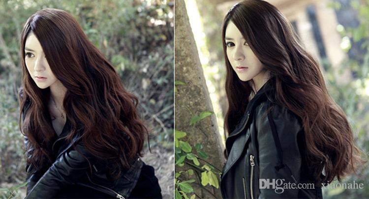 Women Girls Fashion Natrual Long Wavy Full Head Wig Cosplay Wig Black Light Brown Dark Brown 68 Cm Synthetic Hair Wigs