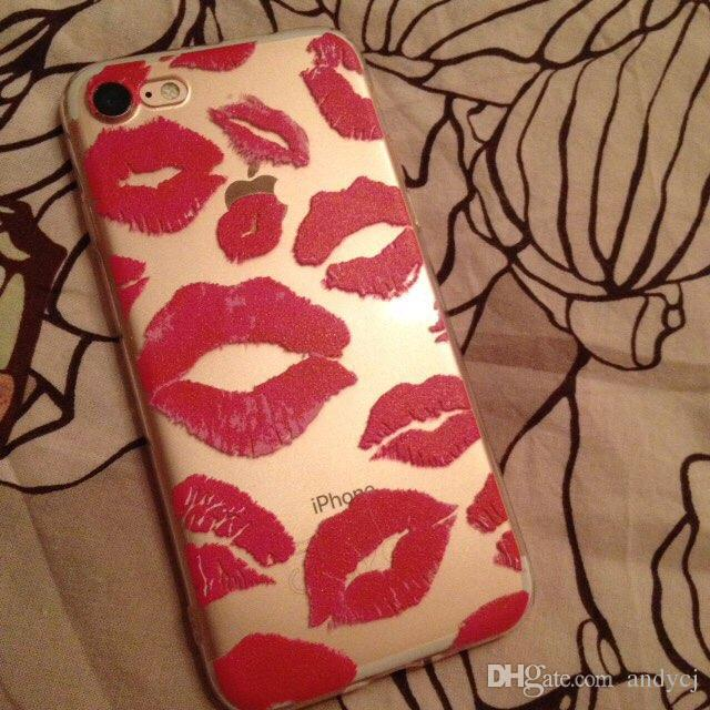 Sexy Lips XOXO Call Me Lipprint Hickey Lipstick Soft Clear Phone Case for iPhone 7 7Plus 6 6Plus iphone 8 8Plus X