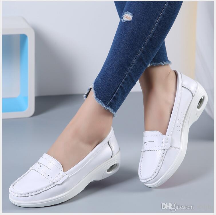 8e6d83d6 Compre Four Seasons Woman White Zapatos De Enfermera Mujer Plataforma Suave  Cómodo Cojín De Aire Casual Cuero Genuino Zapatos Antideslizantes A $23.36  Del ...