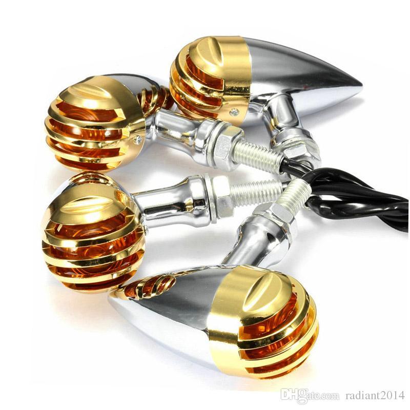 Chrome Metal Grill Mini Bullet Motorcycle Turn Signal Light Blinker Amber Lamb for Harley Honda Suzuki