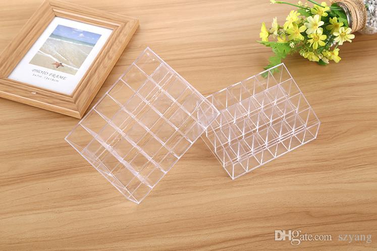 Fast shipping 24 Lipstick Holder Display Stand Clear Acrylic Cosmetic Organizer Makeup Case Sundry Storage makeup organizer box