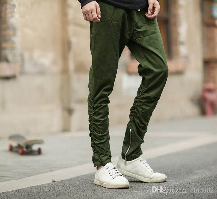 Gros-justin bieber Noir / Vert / Gris / kaki côté fermeture à glissière harem pantalons hommes jogger mens combinaison club usure chinos Vente Chaude Casual Pantalon