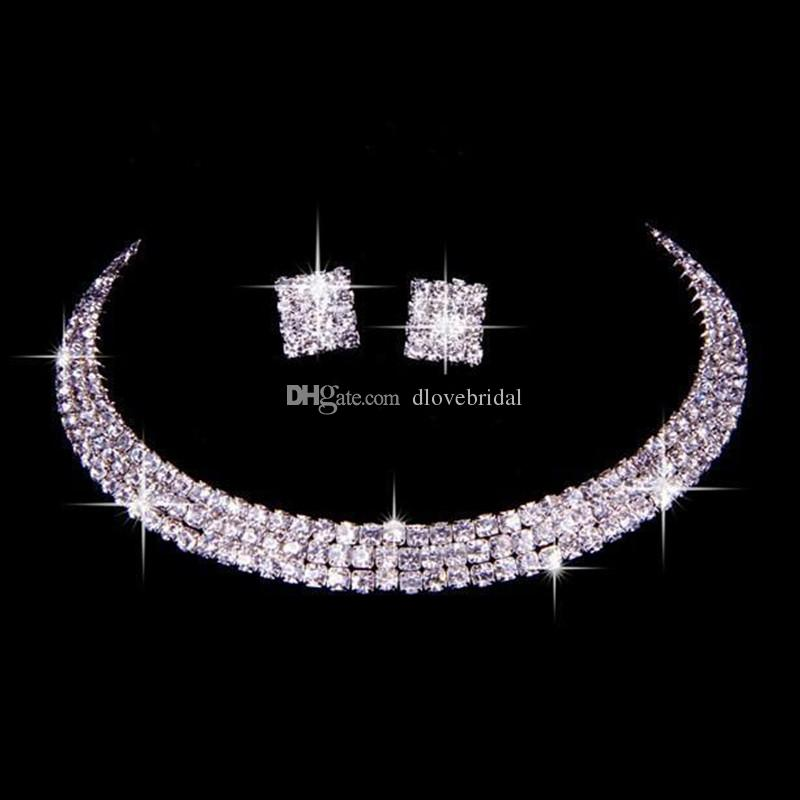 100% igual que la imagen Conjunto clásico de joyas de diamantes de imitación Boda Nupcial Collar y aretes Foto Novia Noche Fiesta de graduación Accesorios de regreso a casa