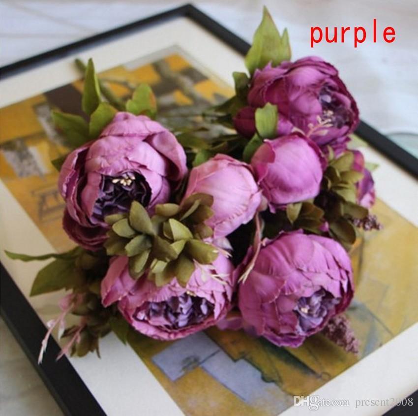 1Bunch Avrupa Yapay Şakayık Dekoratif Parti İpek sahte Çiçek Şakayık Home For Otel dekor DIY Düğün Dekorasyon çelenk