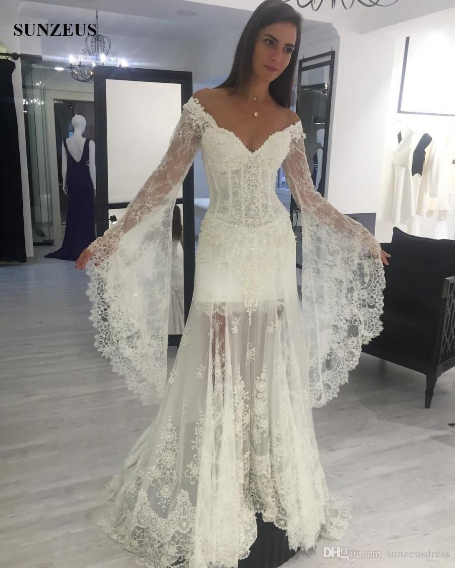 Trumpet style sexy v neck off shoulder wedding dress with long trumpet style sexy v neck off shoulder wedding dress with long sleeves vintage lace bridal gowns for beach wedding off shoulder wedding dress trumpet junglespirit Gallery