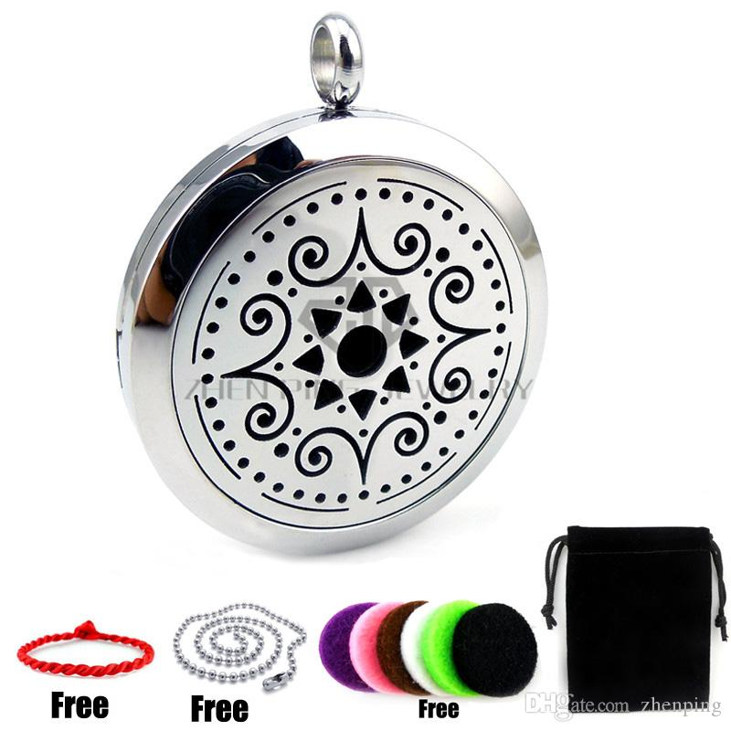 New Arrivals Silver (30mm) Aromatherapy / Essential Oils Diffuser Locket Pendant Necklace with Colorful Pads and Chain