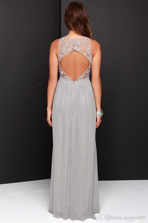 2019 Cheap Gray Bridesmaid Dresses Long Chiffon Keyhole Backless Lace Top A-Line Sleeveless Wedding Party boho beach Wedding Guest Dress
