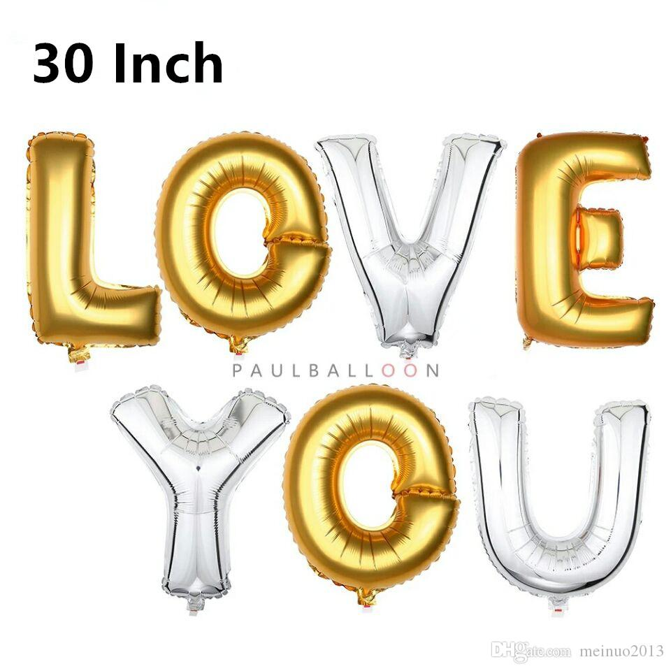 2018 Diy 30 Inch 40cm Gold Silver Letters Aluminum Foil Balloons ...
